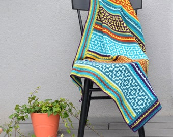 CROCHET pattern - Nya Mosaic Blanket - easy - instant download