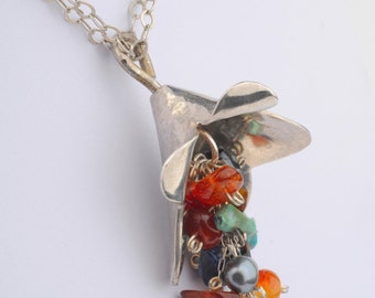 Long Silver Necklace, Silver  Bell Flower Pendant, Multicolored Beads , 2 Silver Chains, Rustic, Romantic