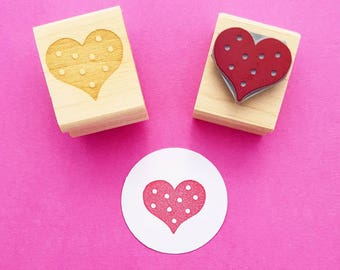 Spotty Heart Rubber Stamp by Skull and Cross Buns - Wedding Heart - Wedding Invite - Wedding Gift - Valentines Gift - Craft