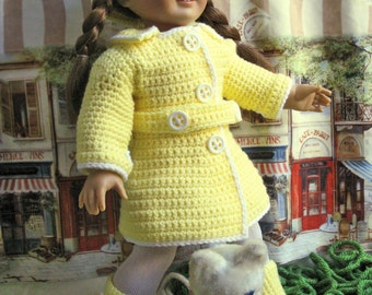 "18"" Doll Clothes Crochet Pattern Rainy Day Coat Hat and Boots fits American Girl"