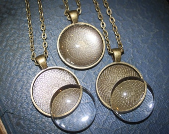 DIY 10 or 20 KITS - 25 mm 1inch Round Blank Pendant necklace kits with Matching Glass and Necklaces -  Bronze, Silver, Black or Copper