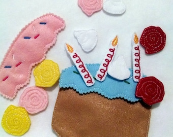 Birthday cake felt flannel board set includes 15 pieces great for quiet books or busy bags #3882