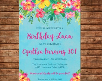 Invitation Watercolor Hawaiian Tropical Flowers Luau Party - Can personalize colors /wording - Printable File or Printed Cards