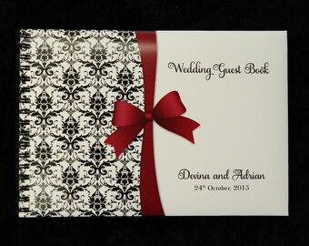 Personalised Wedding Guest Book Damask with Printed Ribbon and Bow
