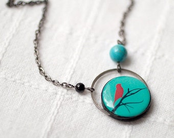 Red Bird necklace, Mother day gift, Bird on branch necklace, Red bird jewelry, Aqua necklace, Winter tree necklace, Tree branch jewelry