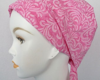 Pretty Pink Batik Chemo Cancer Scarves Turban Hat Cotton Bad Hair Day Head Wrap Covering
