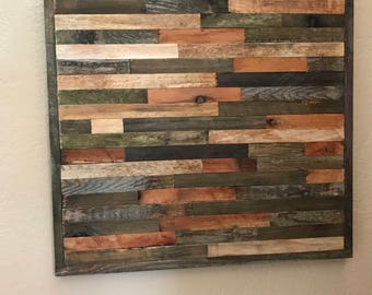 "25 % OFF SALE - Ships Immediately! - Modern Reclaimed Barnwood Art Wall Sculpture - 22""x22"" in mosaic pattern"