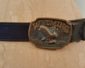 Vintage Belt 1980's Black Leather Wide Belt Brass State of Wyoming Buckle Size 36 Brass Wyoming Wild Freedom Belt Buckle Hipster Wide Belt