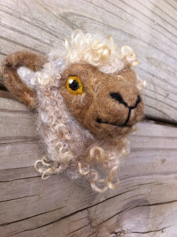 Felted Sheep's Head Highland Cow Brooch Made to Order