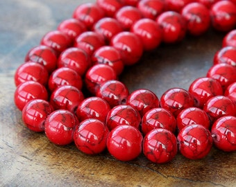Magnesite Beads, Bright Red, 8mm Round - 15 inch Strand - eGR-MG018-8
