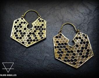 Brass earrings # honeycomb earrings
