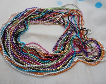 16 Assorted colors(16colors) Ball  Chain Necklaces - 27inch, 2.0mm