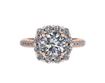 Moissanite Diamond Halo Engagement Ring 14K Rose Gold with 6.5mm Round Forever One Charles & Colvard Moissanite Center Unique Ring - V1071