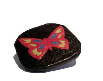 Black Butterfly Brooch Hanji Paper Pin OOAK Dress Clip Black Pink Butterfly Design Stainless Steel Pin Handmade
