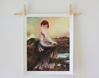 Sea Faerie Mermaid Giclee Art Print Red Haired Water Nymph Sea Siren | Archive Quality 11 x 14 inch