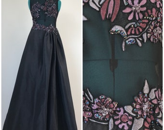 Long Black Taffeta 1980s See-Through Corset with Beading All Over Formal Gown Wedding Prom