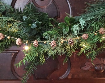 Tiny Pinecone Garland for the Holidays - 4ft - Tiny Gold Bells