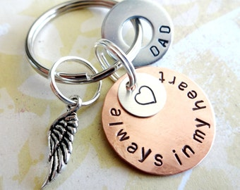 In Memory of Dad - Memorial Keychain - Loss of Loved One - Personalized Hand Stamped Key Chain with Angel Wing Charm