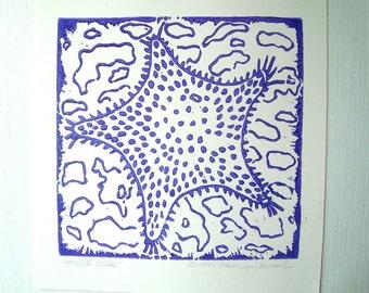 Pferd Sterne Druck - 6 x 6. Lila. Linoleum Drucke Block Schnitte von Hand gedruckt Strand Cottage Kunst Linolschnitt Seestern Druck Block Drucke handgemachte Geschenke