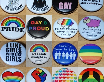 Gay Pride Button Badge 25mm / 1 inch Lesbian LGBT Queer