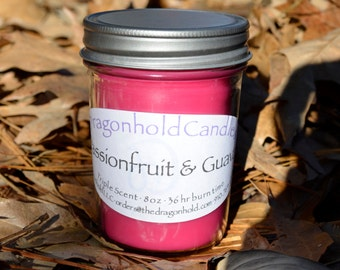 Passion fruit & Guava 8oz Hand Poured Candle, Soy-Paraffin, Triple Scented