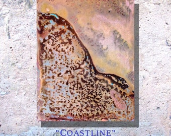 """Art Painting Copper Art Abstract Patina Painting """"Coastline"""" 8 x 10"""" Metal Wall Art"""