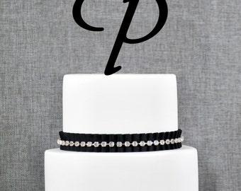Letter P - Initial Cake Topper, Monogram Wedding Cake Topper, Custom Cake Topper