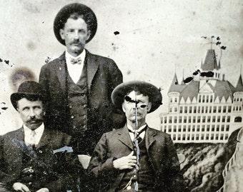 Antique Tintype 3 Fellas & Cliff House San Francisco, CA Photo Backdrop