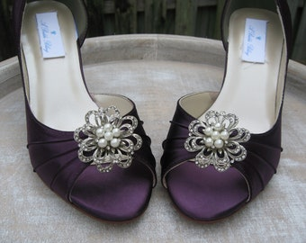 Purple Wedding Shoes Purple Bridal Shoes Eggplant Bridal Shoes with Pearl and Crystal Flower Design - Over 100 Color Choices