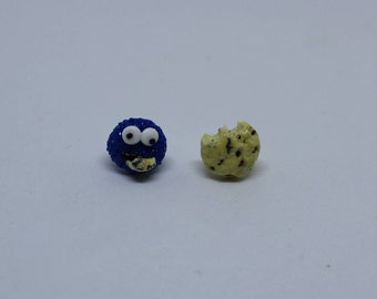 Cookie Monster and Cookie Stud Earrings