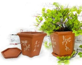 Chinese flower pot - indoor pot planter - gifts for gardeners - Bonsai pot - Terracotta pots - flower pot with saucer -  # 27