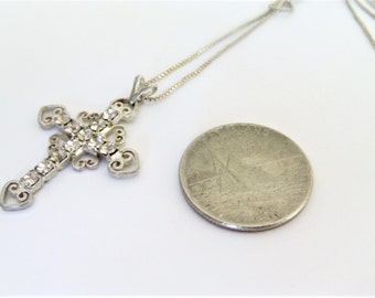 Vintage Sterling Cross  Necklace/ Rhinestone Cross Necklace / Cross Jewelry / Filigree Cross Necklace / Religious Jewelry / Silver Cross