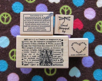"""Set of Four """"Handmade By"""" and Art Stamps"""