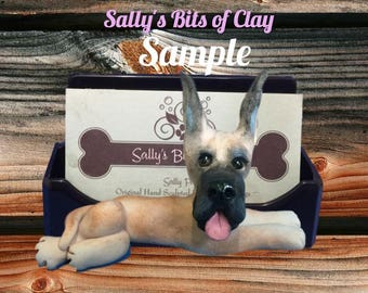 Fawn Great Dane dog choose cropped or natural ears Business Card / Cell Phone Holder OOAK Sculpture by Sally's Bits of Clay