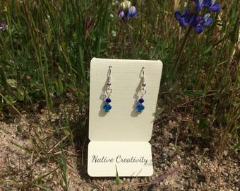 Small Dark Blue and Blue Crystal Earrings