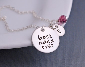 Nana Necklace, Mother's Day Gift for Nana, Silver Best Nana Ever Necklace with Personalized Charms, Jewelry for Nana, From Nana's Grandkids