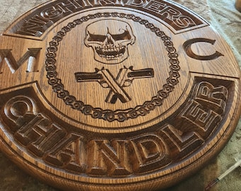 "16"" across - MC Motorcycle Club Plaque - Oak"