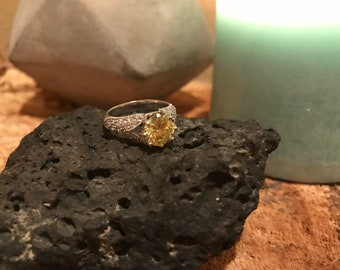 Citrine and Cz Sterling Ring