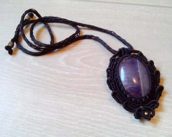 Locket set Amethyst macrame