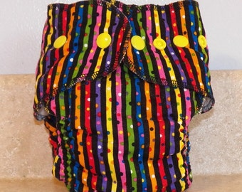 Fitted Small Cloth Diaper- 6 to 12 pounds- Stripes on Black- 17019