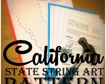 "California - DIY State String Art Pattern - 10"" x 8"" Hearts & Stars included"