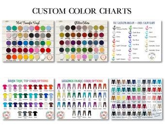 Custom Color Chart - Custom Size Chart - Vinyl Color Chart - Oracal 651 - Vinyl Color Samples - Glitter Color Chart - Clothing Size Chart