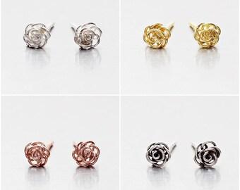 925 Sterling Silver Earrings, Flower Earrings, Gold Plated Earrings, Rose Gold Plated Earrings, Oxidized Stud Earrings (Code : E01B)