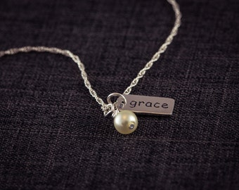 Grace Necklace Crystal Charm, Faith Jewelry, Sterling Silver, Faith Pendant Necklace