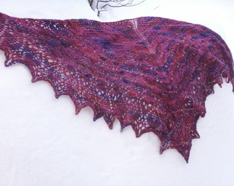 Berryliscious Hand Knit Lace Shawl