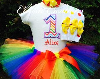 Baby Girl Birthday Tutu Outfit - Rainbow Tutu - First Birthday Tutu Dress - Cake Smash Outfit