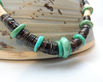 Masculine Turquoise and Black Melon Shell Necklace Choker