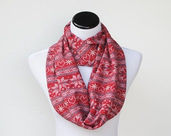 Fair isle infinity scarf, Scandinavian Nordic scarf, Christmas scarf, red white snowflake scarf, Christmas gift for women and girls