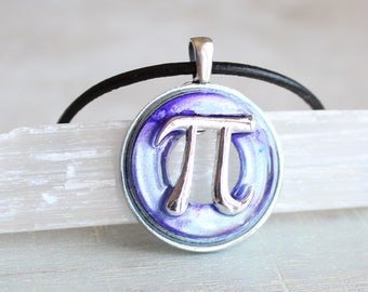 purple pi necklace, pi jewelry, pi symbol, math necklace, teacher gift, graduation gift, math teacher, science jewelry, scientist gift