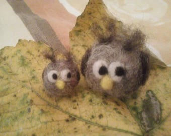 Two felted mini owls in the set, felted Mini Owl